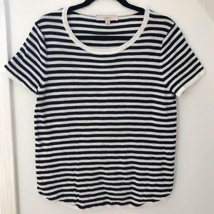 LOFT Sweater Short Sleeve Striped Navy T -L